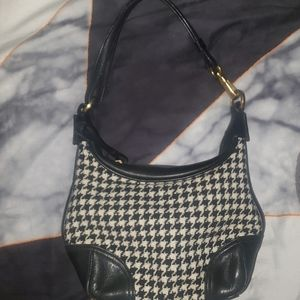 Small Shoulder Coach Wool/Leather Purse